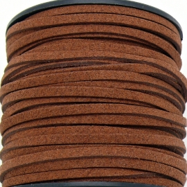 imitatie suede veter 3mm breed - 2m lang - kleur terracotta (BSL-3-12)