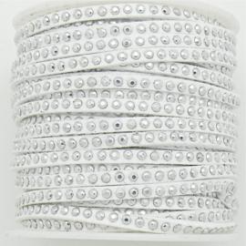 imitatie suede veter 3mm breed met zilveren studs - lengte 1m - kleur wit (LW-M001-13)