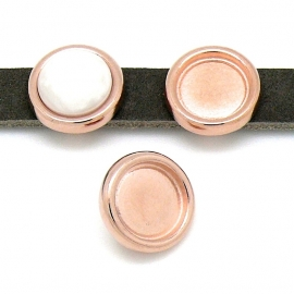 DQ metaal ROSE GOUD schuifkraal rond 16mm voor cabochon 11,5mm voor 10mm breed leer (gat 2,5x10mm) (B04-106-RG)