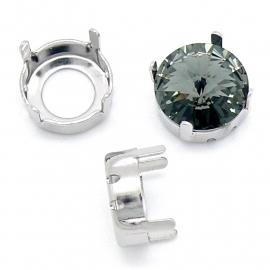 Swarovski setting met 4 gaten zilver voor rivoli 1122 - 12mm (BSR12-S3-S)
