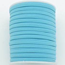 Habotai elastisch zijdekoord - kleur Aquamarine - 3x5mm - lengte 2 meter (no 08)