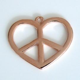 DQ metaal ROSE GOUD bedel groot hart peace 32x38mm (B02-030-RG)