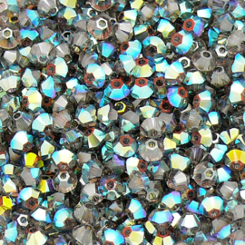 Swarovski kraal bicone 3mm - 5328 - kleur Crystal AB Satin - 25 stuks