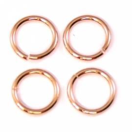 DQ metaal ROSE GOUD open ring 10mm 1.2mm dik - 10 stuks (B05-007-RG)