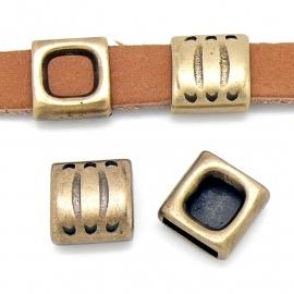 DQ metaal schuifkraal vierkant met strepen voor 10mm plat leer (B04-014-BA)