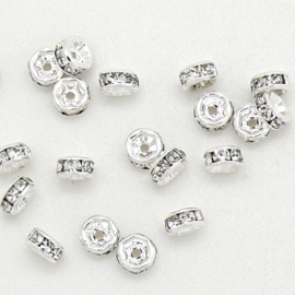 strass rondel - ZILVER - crystal - maat 4x2mm - gat 1mm - 10 stuks