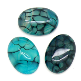 cabochon natuursteen ovaal - natural dragon veins - marine blue 6,5x18x25mm - 1 stuks
