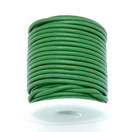 DQ rond leer 3mm - 1 meter - kleur GREEN (no. 03/21)