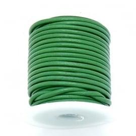 DQ rond leer 1,5mm - 1 meter - kleur GREEN (BRL-01-21)
