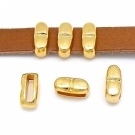 DQ metaal GOUD schuifkraal met streepje smal voor 10mm plat leer (B04-018-SG)