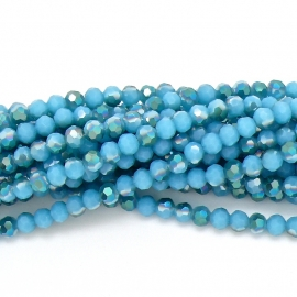 glaskraal rond facet 6mm - streng van ongeveer 100 kralen (BGK-002-016) kleur sea blue diamond coating