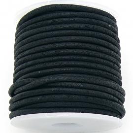 DQ rond leer 2mm - 1 meter - kleur VINTAGE BLACK (BRL-02-43)