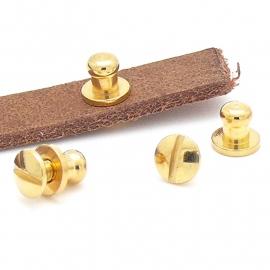 soldatenknop met schroef DQ Goud, knop 4.8mm maat 7x9mm, -1 set (B09-010-SG)