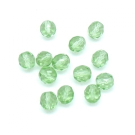 (BJG-016) glaskraal facet geslepen 8mm kleur crystal/lichtgroen  - 10 stuks