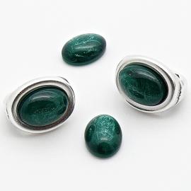 polariscabochon pearl 8x10mm - kleur dark green pearl (POL-003-014)