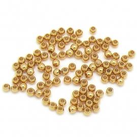 DQ metaal (Goud) kraal rond 3mm - gat 1.5mm (B01-072-SG) - 25 stuks