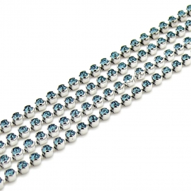 "swarovski cupchain 27000 p18 ""BEZEL"" setting Rhodium - kleur indian sapphire (prijs per 1 cm)"