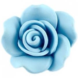 Roosje kraal fimo 23 mm blauw (BK7950)