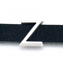 DQ metaal schuifkraal voor 10mm breed leer - letter Z- maat 13x14mm - gat 2,5x10mm (B04-093-AS)