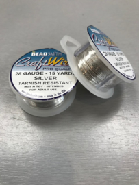 Craftwire Beadsmith - kleur Silver Non Tarnish -28 gauge - 15 yards