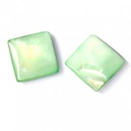 schelp vierkant 15x15mm kleur parelmoer lichtgroen (BJSC006)