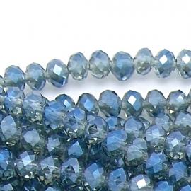 glaskraal rondel facet 6x8mm kleur transparant montana (BGK-006-014) - 35 stuks