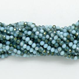 glaskraal rondel facet 3x4mm - circa 148 kralen (BGK-004-052) kleur lightblue/gree twotone