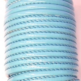 DQ eenzijdig gestikt soft nappaleather 4mm - color light turquoise (20cm)