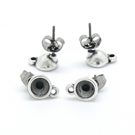 DQ metaal oorbel oorsteker met oogje voor ss24 per paar (B05-042-AS)