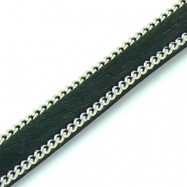 DQ professional platte leerband 10mm breed circa 2mm dik,, 20cm lang vacht zwart met ketting (PL10-HLSCP-16)