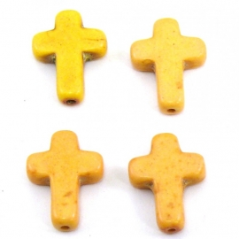 kraal keramiek kruisje 12x16mm gat 1mm kleur geel (BJ315)