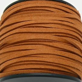 imitatie suede veter 3mm breed - 1m lang - kleur oker (BSL-3-26)