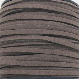 imitatie suede veter 3mm breed - 1m lang - kleur donker khaki (BSL-3-31)