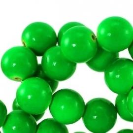 houten kraal 6mm fluor groen (BK9289) 25 stuks