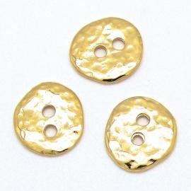 DQ metaal GOUD kraal knoop hamerslag maat 16x17mm maat gat 2mm (B01-052-SG)