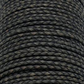 DQ 3mm rondgevlochten soft leather- kleur vintage dark grey - 20cm (BRGL-3-04)