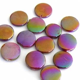 schelp kraal rond 14mm kleur parelmoer taupe/paars (BJSC054) - 5 stuks