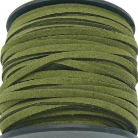 imitatie suede veter 3mm breed - 2m lang - kleur donker olijfgroen (BSL-3-27)