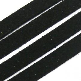 imitatie suede veter 10mm breed kleur zwart - 20 cm