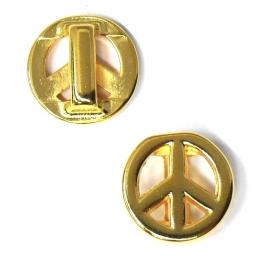 DQ metaal gold schuifkraal peace voor 10mm breed leer (B04-002-SG)