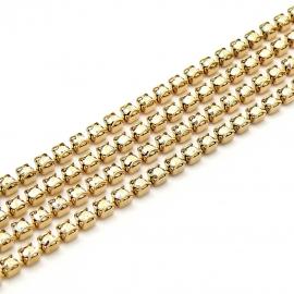 swarovski cupchain 27001 p18 setting GOLD - kleur crystal AB (prijs per 1 cm)