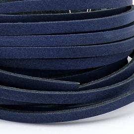 DQ leren band smal 5mm - 2,2 dik circa 100cm lang - kleur trend blauw (PL05-016)