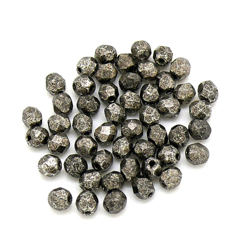 FPB 4mm col. 18549CR - 50 kralen kleur Metalic Antique Platinum