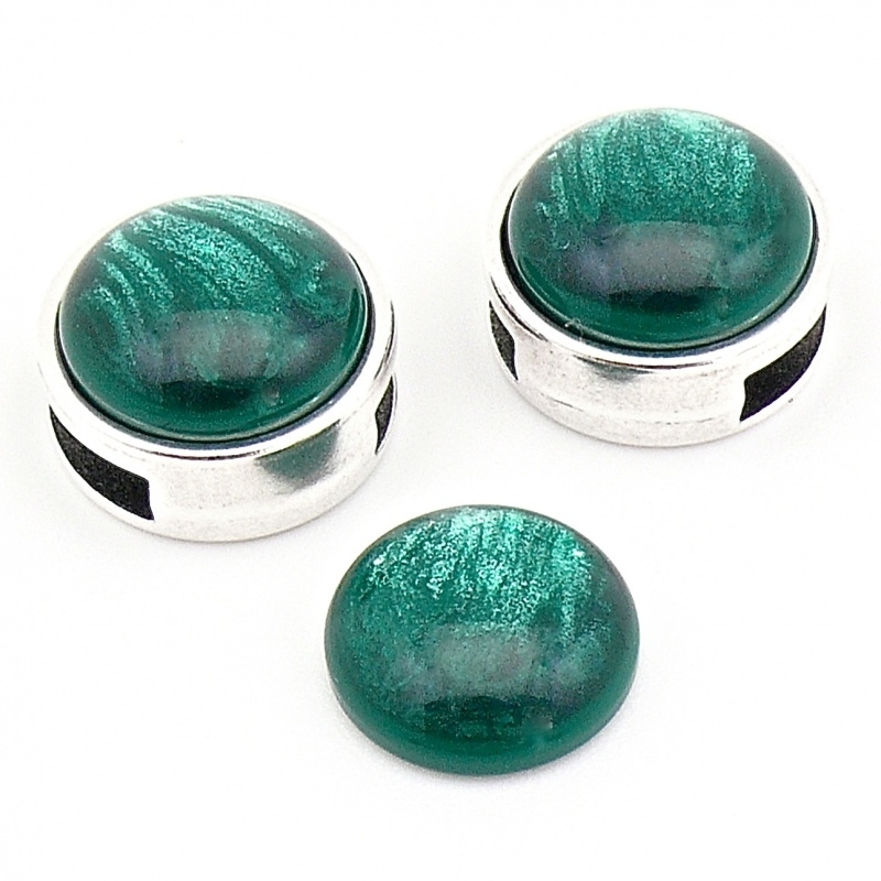 polariscabochon pearl 12mm - kleur shine dark green (POL-002-014)