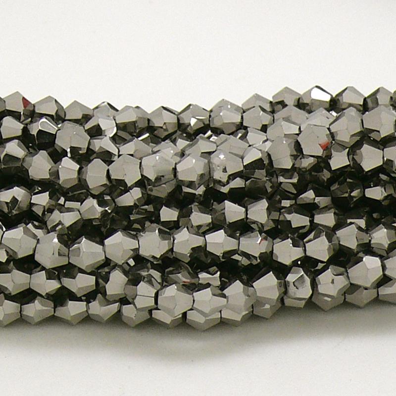 glaskraal bicone 4mm - circa 110  kralen (BGK-008-038) kleur Metalic Dark Silver