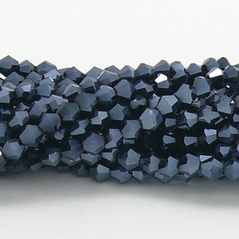 glaskraal bicone 4mm - circa 110  kralen (BGK-008-036) kleur Metalic Hematite
