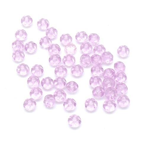 (BJRO-027) glaskraal 4x7mm nugget kleur roze/lila  - 10 stuks