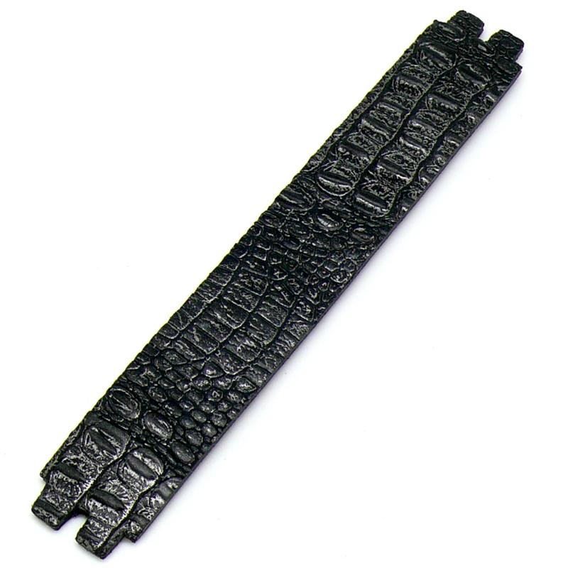 platte leerband 29mm breed kleur Croco Zwart lengte 17cm (OL-42)