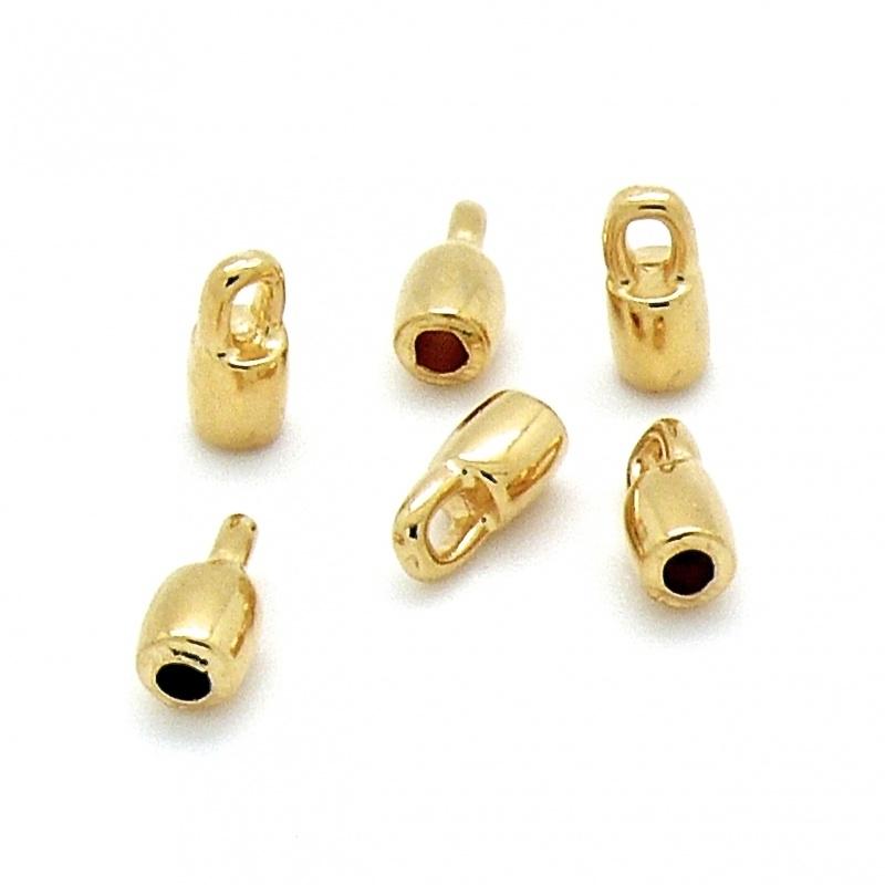 DQ metaal GOUD eindkap voor 2mm rond leer (gat 2mm) (B06-021-SG)