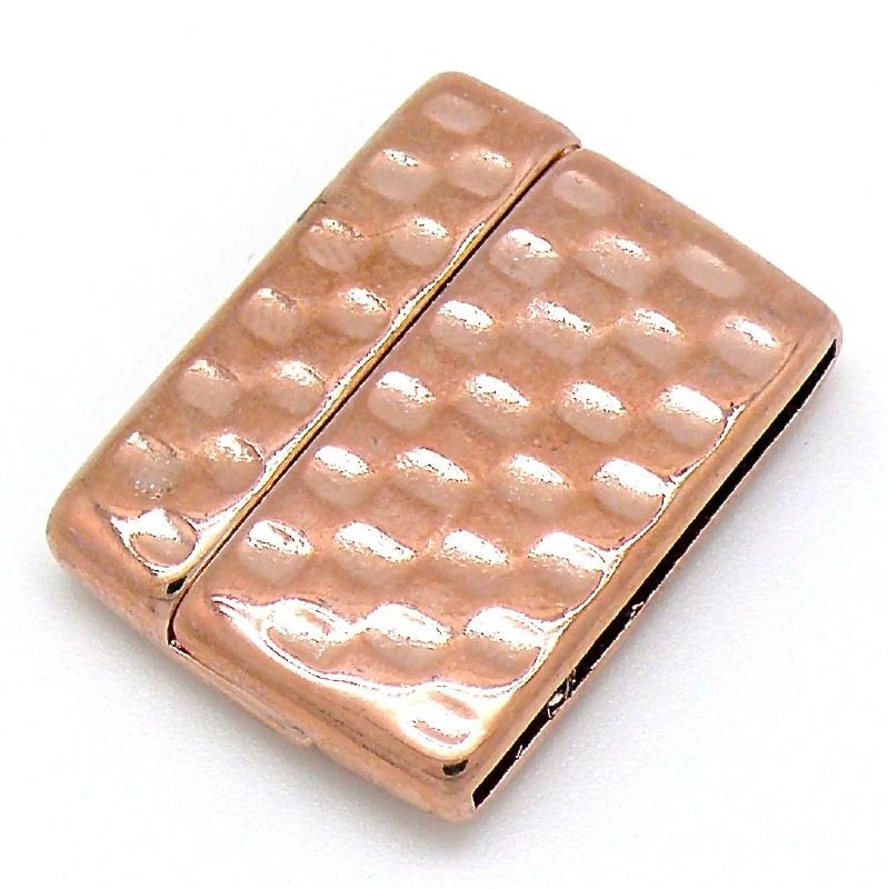 DQ metaal ROSE GOUD magneetsluiting MEN hamerslag voor 30mm breed leer gat 2,5x30mm (B07-026-RG)
